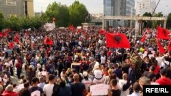 Kosovo's leftist-nationalist Vetevendosje party held a rally in Pristina's Skanderbeg Square on June 12, with participants calling for new elections.