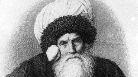 "Имам Шамил, ""ХIакъикъат"" газетаялъул архивалдаса босараб сурат."