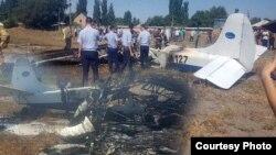 На месте крушения легкомоторного самолета Як-12М в Алматинской области. 27 июля 2017 года.