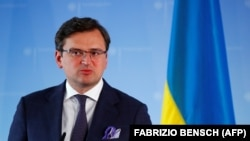 Ukrainian Foreign Minister Dmytro Kuleba gives a joint press conference with his German counterpart Heiko Maas (unseen) after bilateral discussions in Berlin on June 2, 2020.