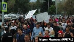 Митинг против повышения цен на топливо в Иркутске