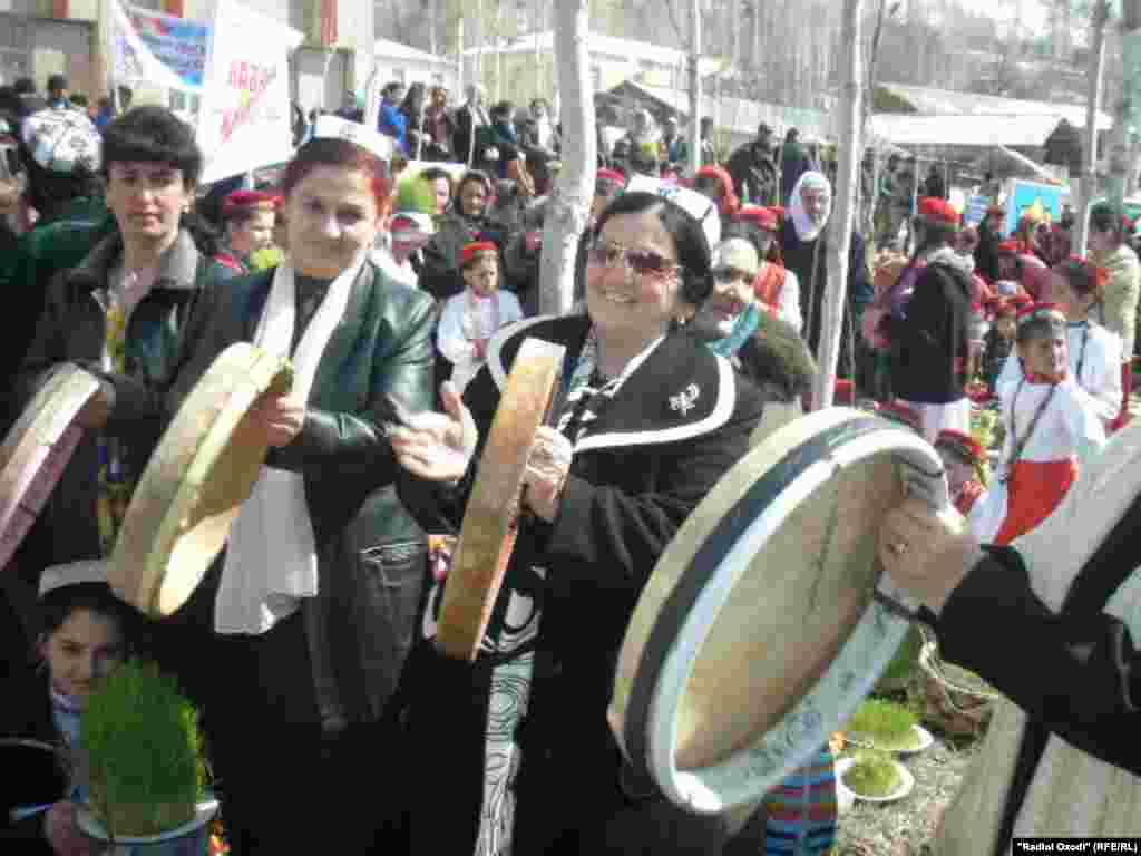 In Khorugh, women play a type of drum known as doira.
