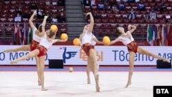 Българският ансамбъл по художествена гимнастика по време на световната купа в София