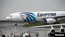 Egypt -- The EgyptAir plane assuring the following flight from Paris to Cairo, after flight MS804 disappeared from radar, taxies on the tarmac at Charles de Gaulle airport in Paris, France, May 19, 2016.