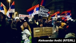Protesters rally in Belgrade on January 12.
