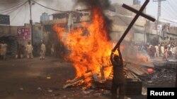 Христиандар тұратын ауданда болған бүлік. Лахор, 9 наурыз 2013 жыл.