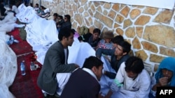 University students during the seventh day of their hunger strike near parliament in Kabul on May 26