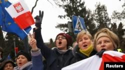 Detalj sa protesta u Varšavi