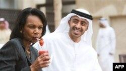 کاندولیزا رایس به همراه شیخ عبدالله بن زاید در دبی