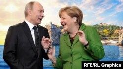 Владимир Путин и Ангела Меркель. Коллаж