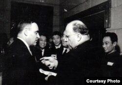 Gh. Gheorghiu-Dej la o întîlnire cu Walter Ulbricht în 1950 (Fototeca comunismului românesc, Cota: 78(56)/1950)