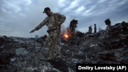 People walk among the debris at the MH17 crash site near the village of Hrabove in the Donetsk region on July 17, 2014.