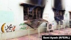 أضرار حريق في جامع في بهرز