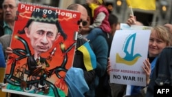 Акция протеста против политики Владимира Путина в Аахене, 29 мая 2014