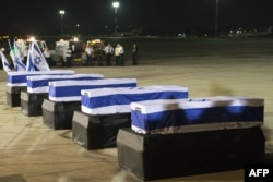 The coffins of the five Israelis who were killed during the terror attack in Burgas in 2012.