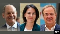 Олаф Шолц (SPD), Аналена Бербок (Зелените) и Армин Лашет (CDU).
