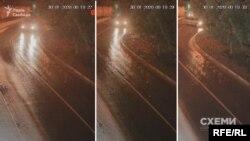 А далі в кадр потрапляє світла автівка, схожа на ту, яку фіксували біля місця підпалу