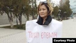 Lazzat Dosmambetova protests in Shymkent in February.