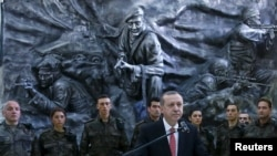 Turkey -- Turkish President Tayyip Erdogan addresses police officers at the Police Special Forces headquarters in Ankara, February 16, 2016