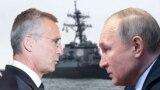 Колаж: президент Росії Володимир Путін (праворуч) і генсекретар НАТО Єнс Столтенберґ