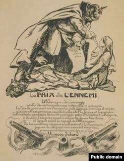 Caricatură franceză privind semnarea tratatului de pace de la București