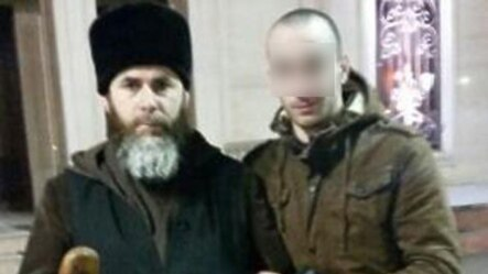 Said Mazhayev (right), a Chechen who returned home purportedly after six months fighting in Syria,  was touted in Russian media as repentant former Islamic State (IS) militant.