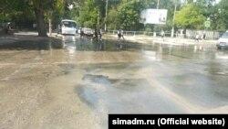 Прорыв водопровода в Симферополе