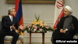 Iran - President Hassan Rouhani meets with his Armenian counterpart Serzh Sarkisian, Tehran, 05Aug2013.