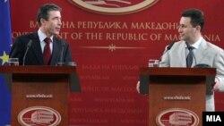 Архивска фотографија: Прес-конфернација на генералниот секретар на НАТО, Андерс Фог Расмусен и премиерот Никола Груевски во Скопје на 18 јуни 2010 година.