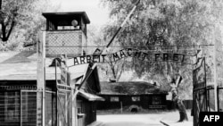"Auschwitz concentration camp gate, with the inscription ""Arbeit macht frei"", after its liberation by Soviet troops in January 1945"