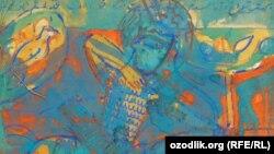 Uzbekistan - Seven planets, Canvas, distemper, 1989