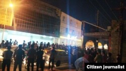 A general view of protests in the city of Behbahan in south Iran, on Thursday night July 16, 2020.