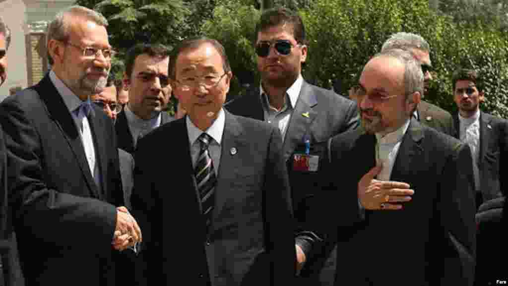 استقبال علی لاریجانی و سفیر ایران در سازمان ملل از بان گی مون