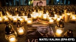 Об остроте кризиса в Словакии говорит надпись на портрете премьера Роберта Фицо: «Убийца». Братислава, 28 февраля 2018 года.