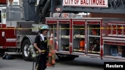 Vatrogasci na mjesti eksplozije gasa u Baltimoru, 10. avgust, 2020.