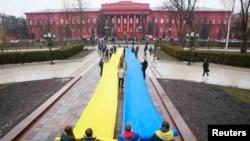 Ուսանողների քաղաքական ակցիան Ուկրաինայի մայրաքաղաքի կենտրոնում, Կիև, 17 փետրվարի, 2014թ.