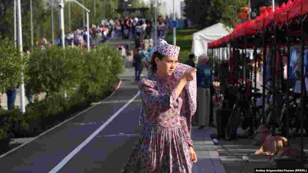 A young woman in a Tatar dress