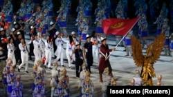 Сборная Кыргызстана на открытии Азиатских игр в Джакарте (Индонезия). 18 августа 2018 года.