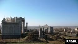 Жаңа-Құрылыс ауылының шетіндегі зират. Алматы облысы, Жамбыл ауданы, Ұзынағаш селолық округі. 25 қараша 2008 ж.