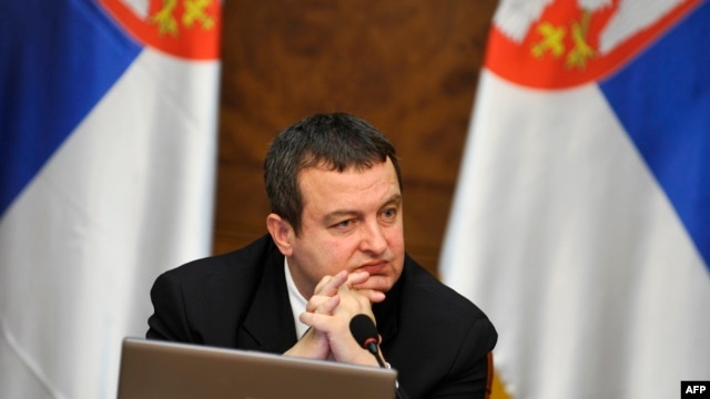 Serbian Prime Minister Ivica Dacic gestures during a government session in Belgrade on April 8, when he rejected the EU-brokered normalization plan for Kosovo.