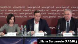 Maia Sandu, Andrei Năstase și Viorel Cibotaru la conferința de presă de la Chișinău