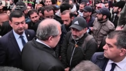 Armenian President Visits Protesters, Talks To Opposition Leader