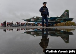 Moscow maintains facilities across Central Asia, including more than 7,000 troops stationed in Tajikistan and the Kant air base in Kyrgyzstan (above). (file photo)