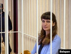 Katsyaryna Barysevich attends a court hearing in Minsk on March 2.