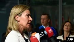Federika Mogerini na sastanku ministara spoljnih poslova EU u Luksemburgu gde se raspravljalo o produžetku sankcija Rusiji