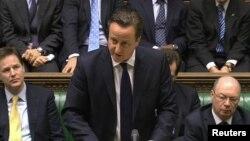Ұлыбритания премьер-министрі Дэвид Кэмерон Алжирдегі оқиғаға байланысты парламентте сөйлеп тұр. Лондон, 18 қаңтар 2013 жыл.