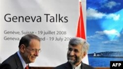 The EU's Javier Solana (left) with Iran's top nuclear negotiator, Said Jalili, last month in Geneva