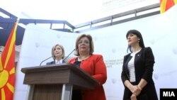Прес-конференција во Специјалното јавно обвинителство. Обвинителките Катица Јанева, Фатиме Фетаи и Ленче Ристоска