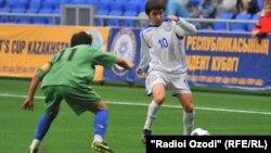 Шанхай ынтымақтастық ұйымының 10 жылдығына арналған футбол матчы. 19 жасқа дейінгі Тәжікстан-Қазақстан құрамаларының кездесуі. Тәжікстан, 10 маусым 2011 жыл.
