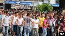 Pamje nga protesta e sotme e shqiptarëve në Shkup